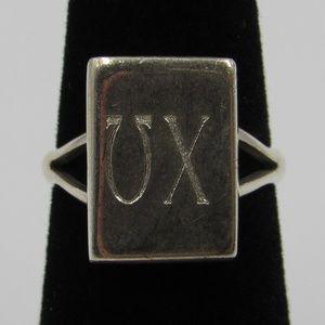 Vintage Size 4.75 Sterling Greek Letters Ring